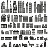 Buildings - buildings icon set. Set of building icons Stock Photos