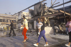 Buildings burned during 1992 riots, South Central Los Angeles, California Royalty Free Stock Image