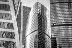 Buildings of business complex Moscow City. A lot of glass and co. Ncrete in modern architecture. Toned Stock Image