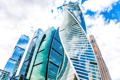 Buildings of business complex Moscow City. A lot of glass and co. Ncrete in modern architecture. Toned Royalty Free Stock Photos
