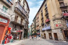 Buildings on Calle Nueva in Pamplona, Spain. Buildings on Calle Nueva in Pamplona city center. City is famous for San Fermin festival in which bulls run and Stock Images