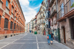 Buildings on Calle Nueva in Pamplona, Spain Royalty Free Stock Photo