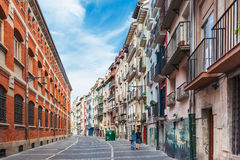 Buildings on Calle Nueva in Pamplona, Spain Royalty Free Stock Image