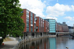 Buildings at canal. In Hamburg, Germany royalty free stock photography