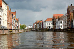Buildings on canal in Bruges  Royalty Free Stock Photo