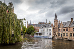 Buildings On Canal In Brugges, Belgium Royalty Free Stock Image