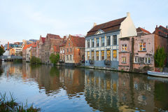 Buildings With Canal In Ghent Stock Images