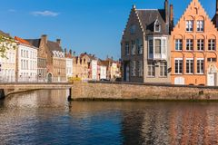 Buildings at canal intersection, Bruges, Brugge, Belgium Royalty Free Stock Photography