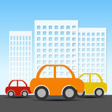 Buildings and car. Vector Illustration Royalty Free Stock Image