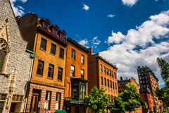 Buildings on Cathedral Street in Baltimore, Maryland. Stock Image
