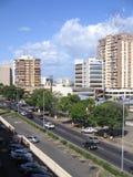 Buildings in Caura street of Puerto Ordaz, Venezuela. royalty free stock photography