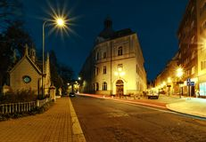 Buildings in the center of Ostrava, Czech republic. Night foto royalty free stock photos