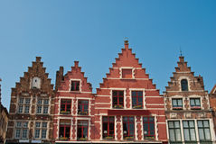 Buildings in Central Square - Bruges. Belgium stock images