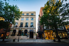 Buildings on Chapel Street, in downtown New Haven, Connecticut. Stock Photo