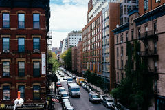 Buildings in Chelsea seen from The High Line in Manhattan, New Y Stock Photo