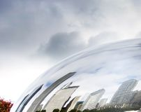 Buildings of Chicago reflected on the Cloud Gate Royalty Free Stock Photo