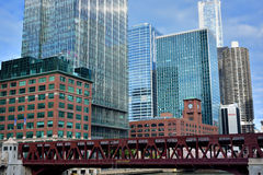 Buildings by Chicago River. Chicago, Illinois, United States Stock Photo