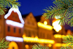 Buildings with christmas decoration Royalty Free Stock Photo