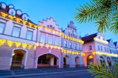 Buildings with christmas decoration Stock Photos