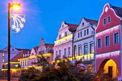 Buildings with christmas decoration Royalty Free Stock Images