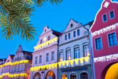Buildings with christmas decoration Royalty Free Stock Photography