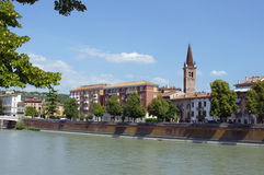 Buildings and church on quay in Verona Royalty Free Stock Photography