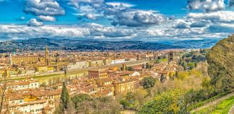 Buildings  and churches of Florence. Vertiginous views on the ancient buildings and Catholics churches of Florence, Italy Royalty Free Stock Images