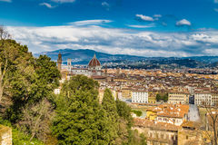 Buildings  and churches of Florence. Vertiginous views on the ancient buildings and Catholics churches of Florence, Italy Royalty Free Stock Photos