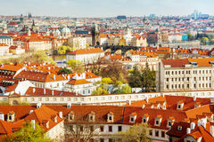 Buildings and churches with red rooftops in old city Royalty Free Stock Photography
