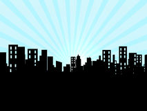 Buildings, city, cityscape. A background with buildings and sky Stock Images