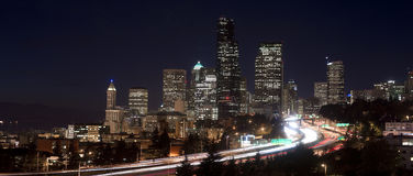 Buildings City Downtown Seattle Washington Interstate Night Stock Photography