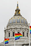 Buildings: City Hall with gay pride flags Stock Photos