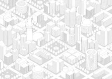 Buildings and City Landscape, line drawing illustration Stock Photography