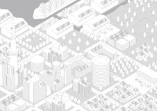 Buildings and City Landscape (warehouse and logistics), line drawing illustration Stock Photography