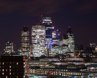 Buildings in the City of London at Night Stock Photography