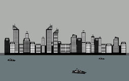 Buildings of the City, Sea, Boat. Vector Stock Photography