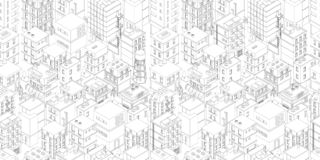 Buildings city seamless pattern. Isometric top view. Vector town city street outline. Gray lines contour style rectangular. Background. Highly detailed. Vector vector illustration