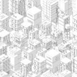 Buildings city seamless pattern. Isometric top view. Vector town city street outline with shadows. Gray lines contour style. Background. Highly detailed. Vector stock illustration