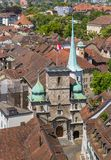 Buildings of the city of Solothurn, view from the tower of the St. Ursus cathedral. Buildings of the city of Solothurn - view from the tower of the famous St royalty free stock image