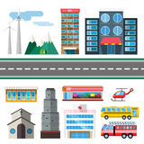 Buildings and city transport flat style. Illustration. Flat design city downtown background. Roads and city buildings, sky and mountains. Architecture small Royalty Free Stock Images