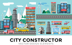Buildings and city transport flat style. Illustration. Flat design city downtown background. Roads and city buildings, sky and mountains. Architecture small Royalty Free Stock Image