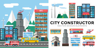 Buildings and city transport flat style. Illustration. Flat design city downtown background. Roads and city buildings, sky and mountains. Architecture small Stock Photos