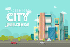 Buildings city vector illustration, flat skyscrapers near forest trees panorama, cityscape architecture, urban street Royalty Free Stock Photos