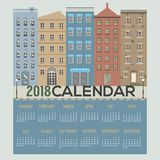2018 Buildings Cityscape Flat Design Printable Calendar Starts Sunday. Vector Illustration Royalty Free Stock Image