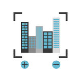 Buildings cityscape scene with target Stock Image