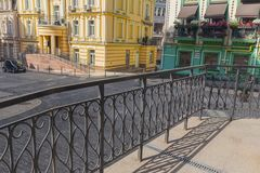 Buildings in the classical style and railings in the foreground. Architecture Stock Photo
