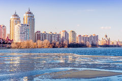 Buildings close to the Frozen River Royalty Free Stock Images