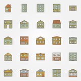 Buildings colorful icons Stock Photo