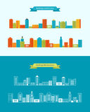 Buildings colorful and thin line icons Royalty Free Stock Photos