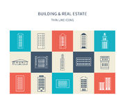 Buildings colorful and thin line icons Stock Photography